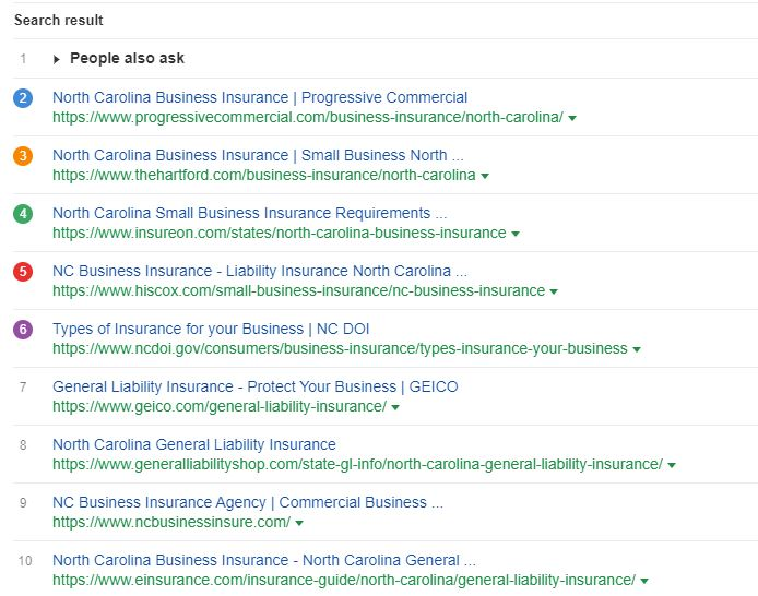Business Insurance NC - Google Search Results